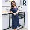 ชุดเดรสสั้นสีน้ำเงิน เปิดไหล่ เข้ารูป สวยเก๋ น่ารัก แฟชั่นเกาหลีสไตล์วินเทจ