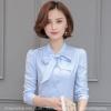 เสื้อทำงานผู้หญิงสีฟ้า คอผูกโบว์ แขนยาว กระดุมหน้า ( สินค้าพร้อมส่ง S M L XL 2XL )