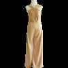 ชุดออกงานสีทอง จีบคอ แขนกุด กางเกงขายาวทรงกระบอก : สินค้าพร้อมส่ง