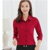 เสื้อเชิ้ตผู้หญิงทำงานสีแดง แขนยาว