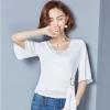 เสื้อชีฟองสีขาว คอวีป้าย แขนสั้น เอวผูกน่ารักๆ