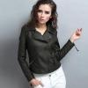 เสื้อแจ็คเก็ตหนังผู้หญิง แฟชั่นเกาหลี สีเขียวเข้ม แจ็คเก็ตหนัง PU คอปก มีสไตล์ แนวเท่ๆ