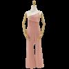 ชุดเดรสกางเกงขายาวสีชมพู ไหล่เฉียงข้าง ( สินค้าพร้อมส่ง : ชมพู )