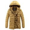 เสื้อกันหนาวผู้ชาย เสื้อแจ็คเก็ตผู้ชายมีฮู้ด ถอดได้ สีเหลือง ซับขนสัตว์อุ่นๆ