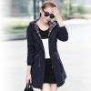 เสื้อกันหนาวผู้หญิงแฟชั่นเกาหลี สีกรม แจ็คเก็ตกันลมฮู้ดลายสก๊อต