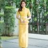 ชุดออกงานไทยประยุกต์สีเหลือง เซ็ทเสื้อลูกไม้ เอวระบาย + กระโปรงยาวผ้าไหมอิตาลี แนวเรียบหรู สวยสง่า ดูดีสุด เหมาะสำหรับใส่ในวันพิธีเฉลิมฉลองพระชนมพรรษาร.10 : สินค้าพร้อมส่ง