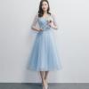 ชุดราตรียาวสีฟ้า คอวี กระโปรงบานทรงเจ้าหญิง สวยหวาน น่ารัก