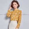 เสื้อเชิ้ตทำงานผู้หญิงสีเหลือง คอวี แขนยาว : สินค้าพร้อมส่ง