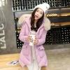 เสื้อกันหนาวผู้หญิงแฟชั่นเกาหลี สีชมพูบานเย็น แจ็คเก็ตมีเฟอร์รอบฮู้ด ยาวคลุมสะโพก หนาวนี้ เอาอยู่