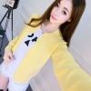 เสื้อคลุมไหมพรมคาร์ดิแกน เสื้อคลุมผู้หญิงแฟชั่นสวยๆ แขนยาว สีเหลือง แต่งกระดุมหลอก