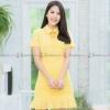 ชุดเดรสสั้นสีเหลือง คอปกแต่งชายระบาย กระโปรงแต่งชายระบายน่ารักๆ : สินค้าพร้อมส่ง M L XL