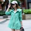เสื้อกันหนาวผู้หญิงแฟชั่นเกาหลี สีเขียว แจ็คเก็ตกันลม มีฮู้ด ตัวยาวคลุมสะโพก เท่ๆ
