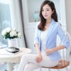 เสื้อสูททำงานผู้หญิงสีฟ้า ทรงเข้ารูป คอปก แขนยาว ทรงสวย ( สินค้าพร้อมส่ง )