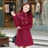 เสื้อโค้ทกันหนาวผู้หญิง สีไวน์แดง คอจีน ยาวคลุมสะโพก ใส่เที่ยวต่างประเทศ สวยๆ