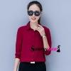 เสื้อเชิ้ตผู้หญิงทำงานสีแดง แขนยาว กระดุมหน้า ผ้าชีฟอง
