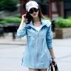 เสื้อกันหนาวผู้หญิงแฟชั่นเกาหลี สีฟ้า แจ็คเก็ตกันลม มีฮู้ด ตัวยาวคลุมสะโพก เท่ๆ