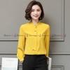 เสื้อเชิ้ตทำงานผู้หญิงสีเหลือง คอแต่งระบาย แขนยาว : สินค้าพร้อมส่ง S L XL 2XL