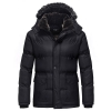 เสื้อกันหนาวผู้ชาย เสื้อแจ็คเก็ตผู้ชายมีฮู้ด ถอดได้ สีดำ ซับขนสัตว์อุ่นๆ