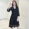 ชุดเดรสลูกไม้สีดำ คอวีป้าย แขนยาว แนวเรียบร้อย สวยหวาน น่ารักๆ ( สินค้าพร้อมส่ง M L )
