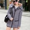 เสื้อกันหนาวผู้หญิงแฟชั่นเกาหลี สีเทา แจ็คเก็ตมีฮู้ด ซับบุขนสัตว์ ยาวคลุมสะโพก