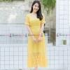 ชุดเดรสยาวลูกไม้สีเหลือง แขนสั้น กระโปรงทรงปล่อยน่ารักๆๆ ( พร้อมส่ง : M L XL )