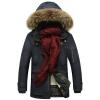เสื้อกันหนาวผู้ชาย เสื้อแจ็คเก็ตผู้ชายมีฮู้ดติดเฟอร์ เท่ๆ สีกรมท่า ซับบุขนอุ่นๆ