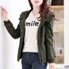 เสื้อกันหนาวผู้หญิงแฟชั่นเกาหลี สีเขียวทหาร แจ็คเก็ตมีฮู้ด ตกแต่งลายจุด สวยๆ