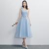 ชุดราตรียาวสีฟ้า ไหล่เฉียง กระโปรงบานทรงเจ้าหญิง สวยหวาน น่ารัก