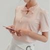 เสื้อเชิ้ตผู้หญิงทำงานสีชมพูโอรส แขนสั้น คอจีบ