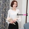 เสื้อเชิ้ตผู้หญิงทำงานสีขาว แขนยาวแต่งระบาย ผ้าชีฟอง