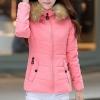 เสื้อกันหนาวผู้หญิงแฟชั่นเกาหลี สีชมพู แจ็คเก็ตมีเฟอร์ขนสัตว์ รอบฮู้ด แบบถอดได้