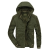 เสื้อกันหนาวผู้ชาย เสื้อแจ็คเก็ตผู้ชายมีฮู้ด สีเขียวทหาร คอปีน ซับขนสัตว์ เท่ๆ จั้มข้อมือ และเอว
