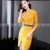ชุดเดรสสั้นสีเหลือง คอวีป้าย แขนสี่ส่วน ทรงสวยเข้ารูป : สินค้าพร้อมส่ง