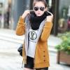 เสื้อกันหนาวผู้หญิงแฟชั่นเกาหลี สีน้ำตาลเหลือง แจ็คเก็ตมีฮู้ด ซับบุขนสัตว์