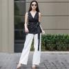 ชุดเซ็ทเสื้อลูกไม้สีดำ + กางเกงขายาวสีขาว ดีไซน์เก๋ๆ ทรงสวยมากๆ