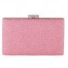 กระเป๋าถือออกงานสีชมพู ทรงสี่เหลี่ยม หนังเพชรระยิบระยับสวยหรู