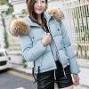 เสื้อกันหนาวผู้หญิงแฟชั่นเกาหลี สีฟ้า แจ็คเก็ตมีฮู้ด พร้อมเฟอร์ขนสัตว์ ชายเสื้อเล่นระดับ ดีไซน์เก๋ๆ