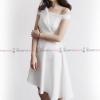 ชุดเดรสสั้นสีขาว เปิดไหล่ แต่งจีบช่วงอก กระโปรงทรงบาน : สินค้าพร้อมส่ง Size. S M
