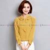 เสื้อเชิ้ตทำงานผู้หญิงสีเหลือง แต่งระบายสองชั้น แขนยาว : สินค้าพร้อมส่ง