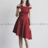 ชุดเดรสสั้นสีแดง เปิดไหล่ แต่งจีบช่วงอก กระโปรงทรงบาน : สินค้าพร้อมส่ง Size. S M