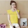 เสื้อชีฟองสีเหลือง แต่งดอกไม้ ผูกเอวน่ารักๆ : สินค้าพร้อมส่ง