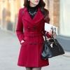 เสื้อโค้ทกันหนาวผู้หญิง สีไวน์แดง คอปก ตัวยาวคลุมสะโพก มีเข็มขัด