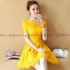 ชุดเดรสสั้นสีเหลือง แขนสั้น กระโปรงทรงบาน แนวเรียบๆ สวยหวาน น่ารัก ดูดี ใส่ทำงานได้ ( สินค้าพร้อมส่ง : S M L XL 2XL )