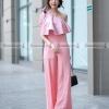 ชุดเดรสกางเกงขายาวสีชมพู ไหล่เฉียงแต่งระบาย กางเกงทรงขากว้าง