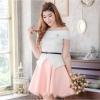 ชุดเซ็ทเสื้อเปิดไหล่สีขาว + กระโปรงสั้นทรงบานสีชมพูโอรส ลุคสวยหวาน น่ารัก ๆ