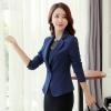 เสื้อสูททำงานผู้หญิงสีกรมท่า คอปก ทรงเข้ารูป แขนยาว ( สินค้าพร้อมส่ง )