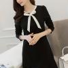 ชุดเดรสสั้นสีดำ คอผูกโบว์น่ารักๆ แขนยาว ลุคสวยหวาน น่ารัก แฟชั่นสไตล์เกาหลี