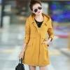 เสื้อกันหนาวผู้หญิงแฟชั่นเกาหลี สีเหลือง แจ็คเก็ตกันลมมีฮู้ด ตัวยาวคลุมสะโพก