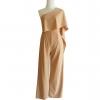 ชุดจั๊มสูทกางเกงขายาวสีน้ำตาล ไหล่เฉียงสไบข้าง : สินค้าพร้อมส่ง S M L
