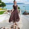 ชุดเดรสยาวสีดำใส่เที่ยวทะเลพิมพ์ลายใบไม้สวยๆ สไตล์โบฮีเมียน แฟชั่นริมทะเล ร้อนนี้หนีไปทะเลกัน สวยใสรับซัมเมอร์ เก๋ๆ ( สินค้าพร้อมส่ง )